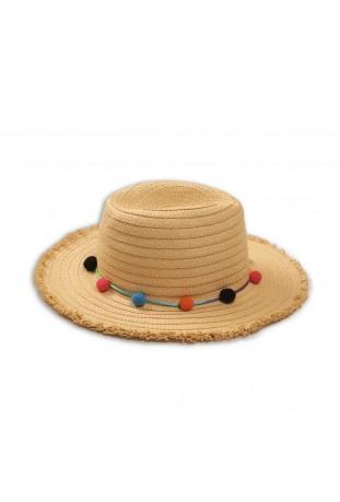 Ψάθινο καπέλο με πομ πομ